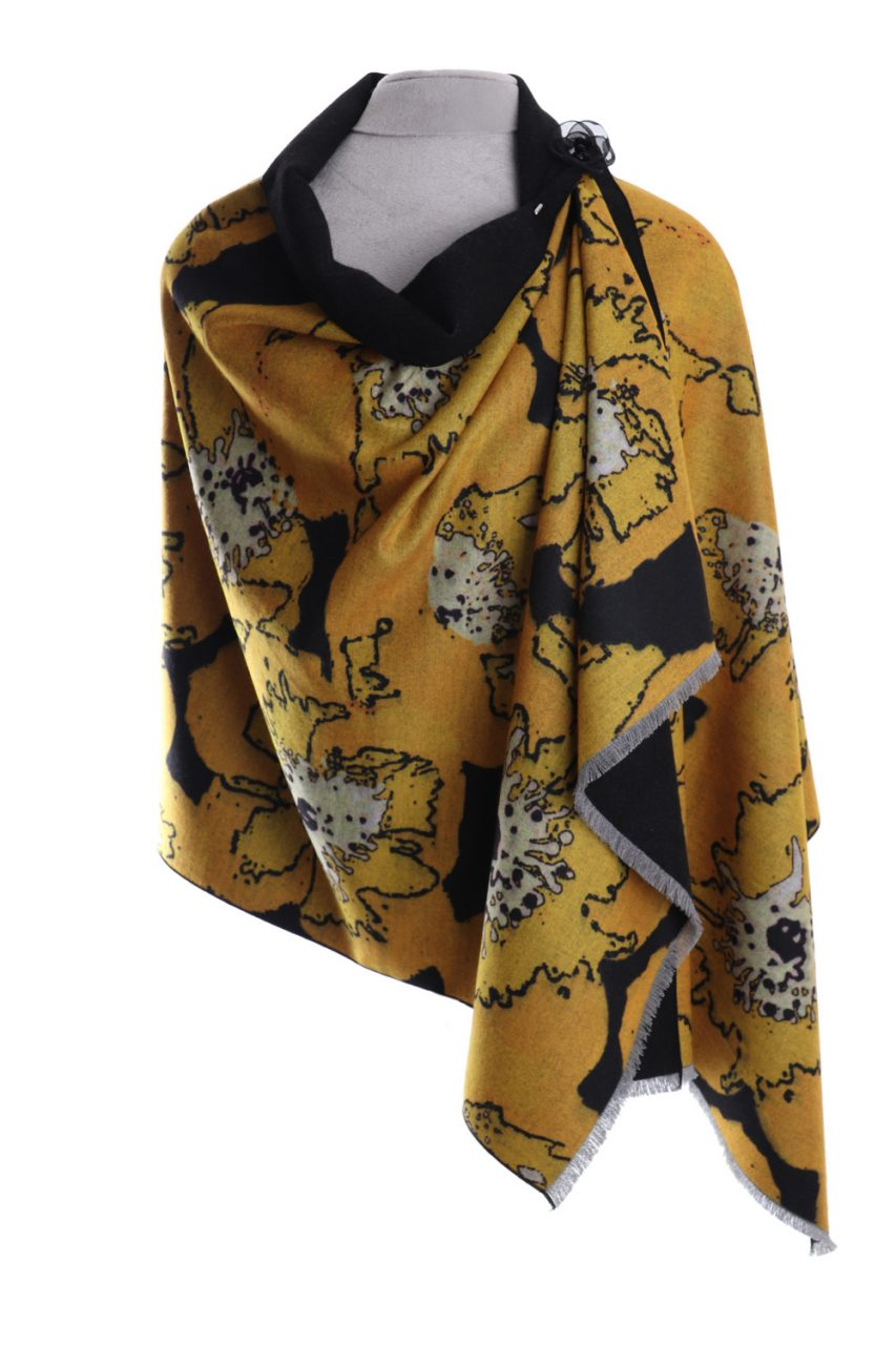 Luxury wrap/scarf.  Winter poppies in yellow . Zelly