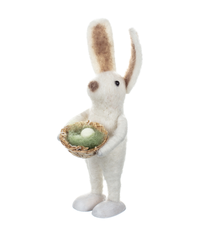 Ester with eggs, Easter bunny felted ornament by shoeless joe