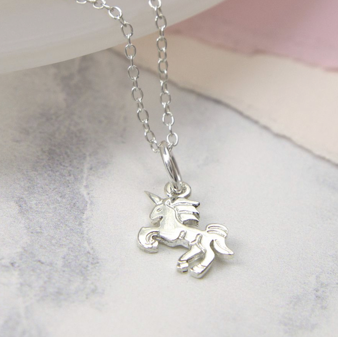 Sterling Silver Dancing Unicorn Necklace.