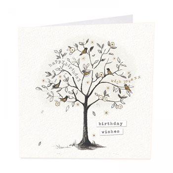 Birthday birds . Tree card