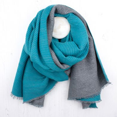 Grey Turquoise Pleated Scarf By POM