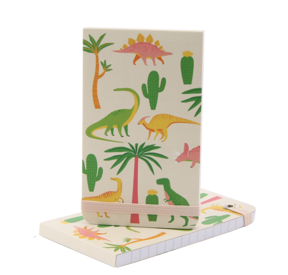 Dinosaur lined note pad with elastic to close.