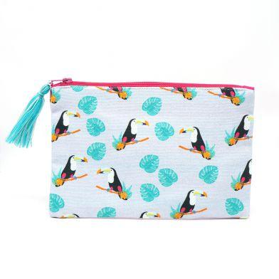 Toucan print cotton zip pouch / makeup bag