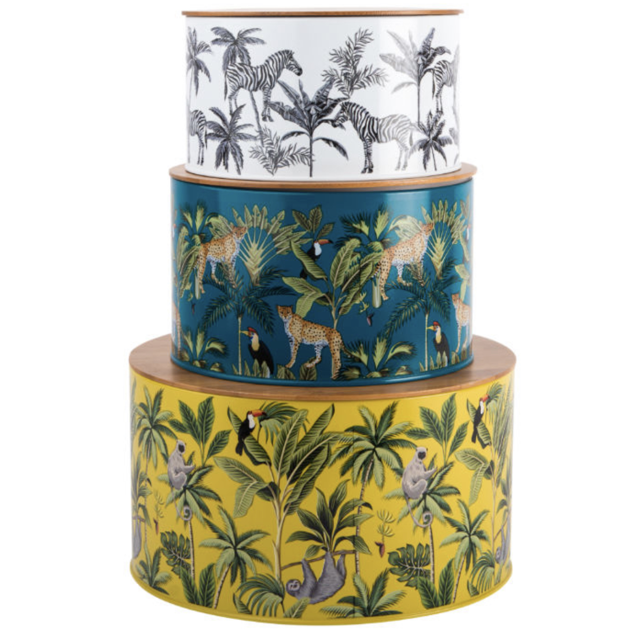 CAKE TIN, MADAGASCAR SET OF 3 NESTING TINS. SLOTH, CHEETAH, ZEBRA JUNGLE DESIGN