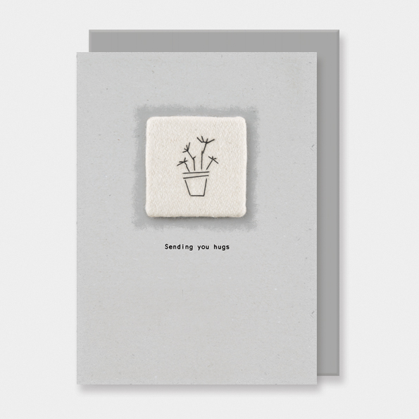 Embroidered card-Sending hugs. Greetings cards by east of India