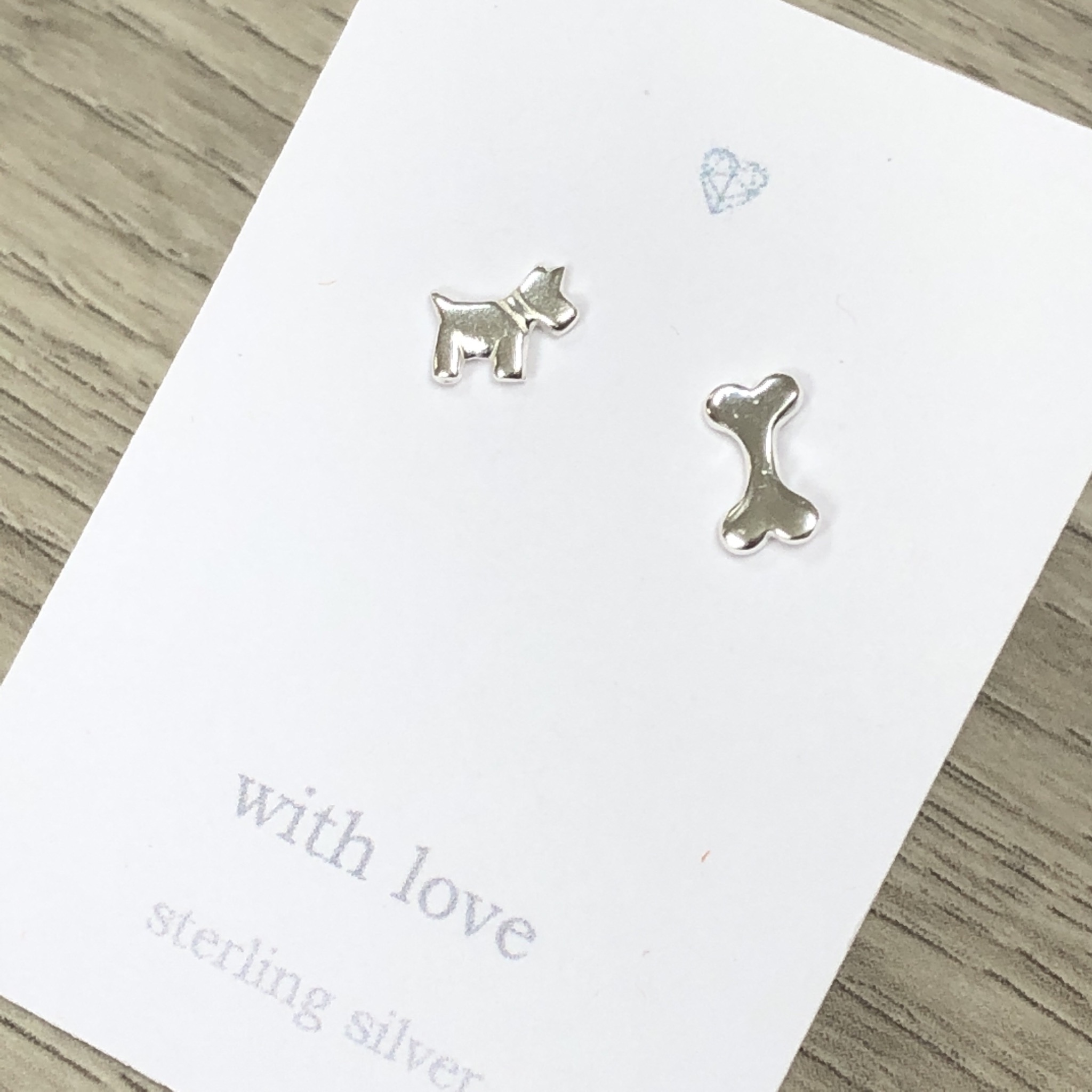 Dog and bone sterling silver stud earrings
