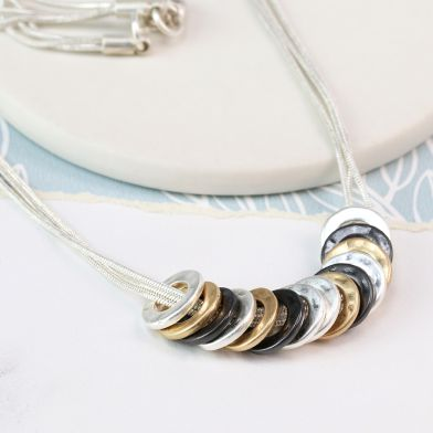 Mixed finish multi hoop necklace by POM