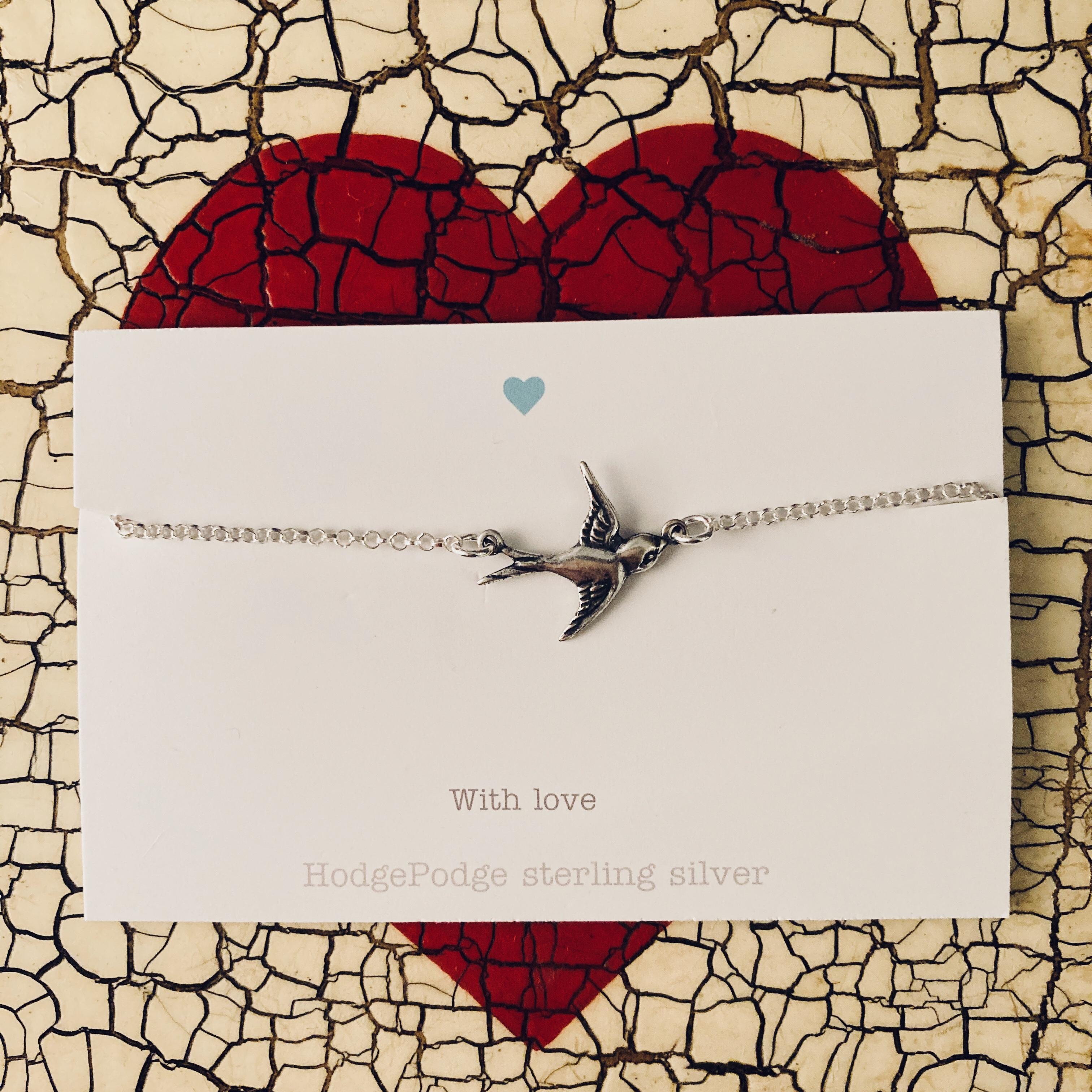 Swallow bracelet in sterling silver