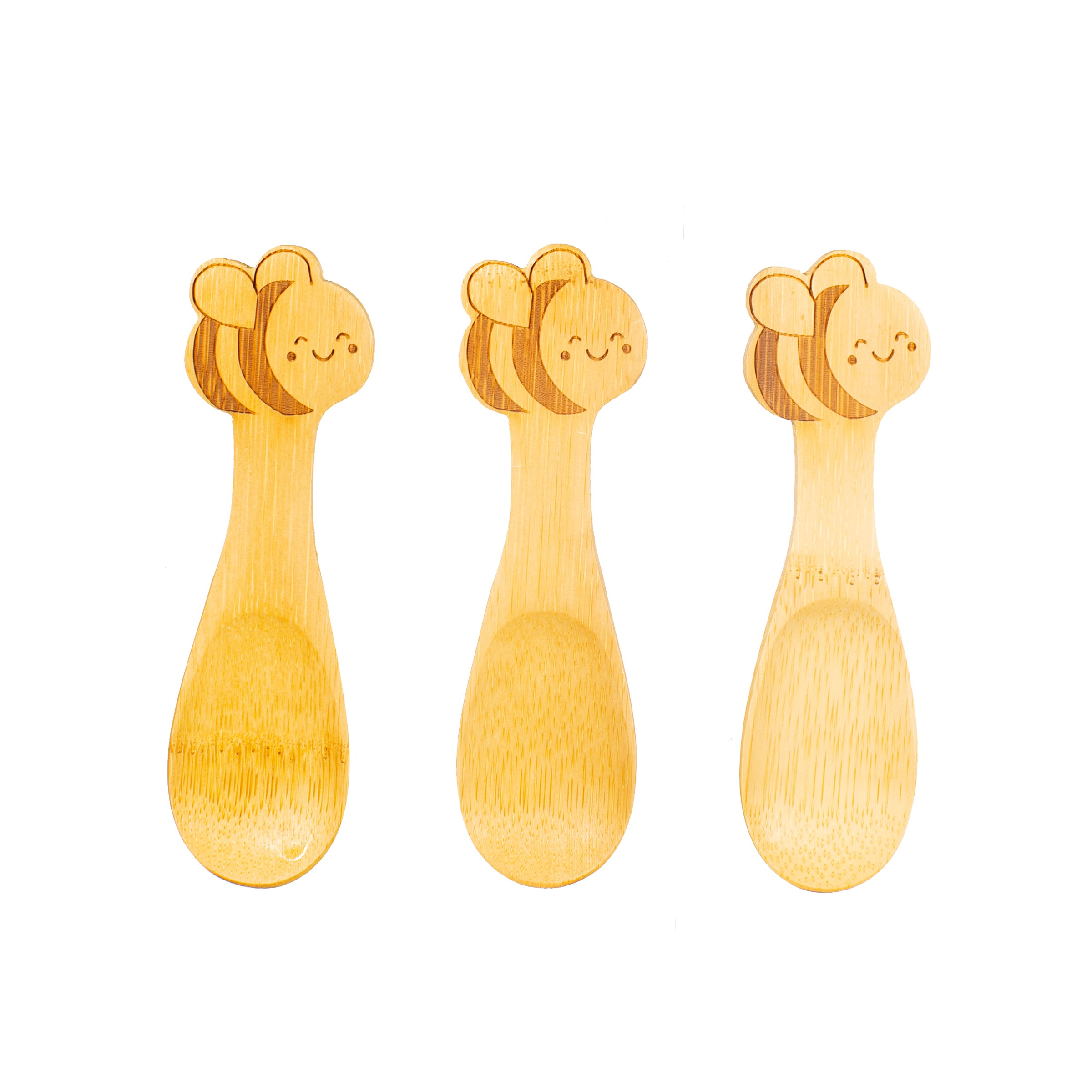 Bamboo bee spoons- set of 3. Sass & Belle