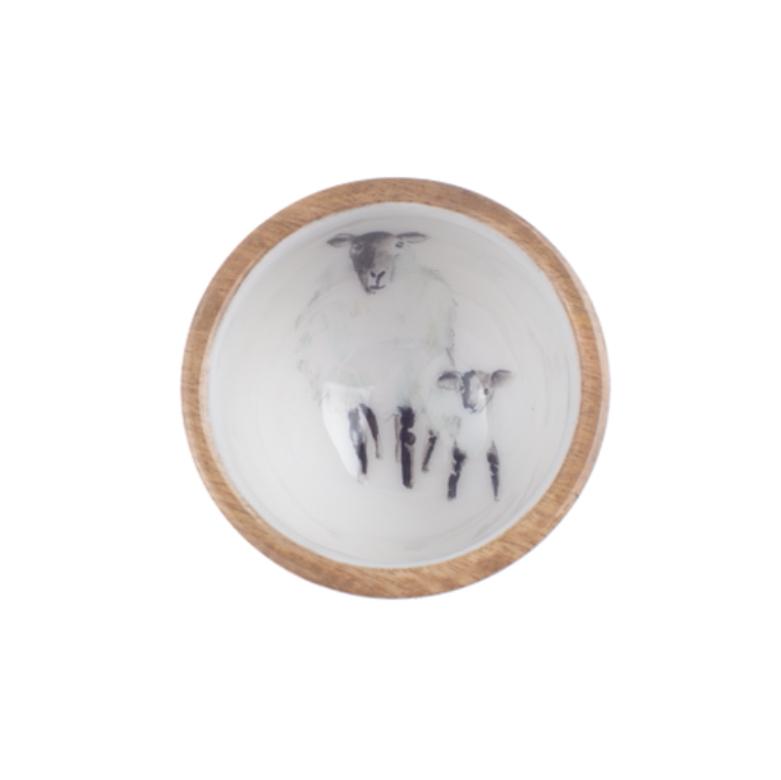 Sheep & lamb mango wood nut bowl (10cm) by shoeless joe