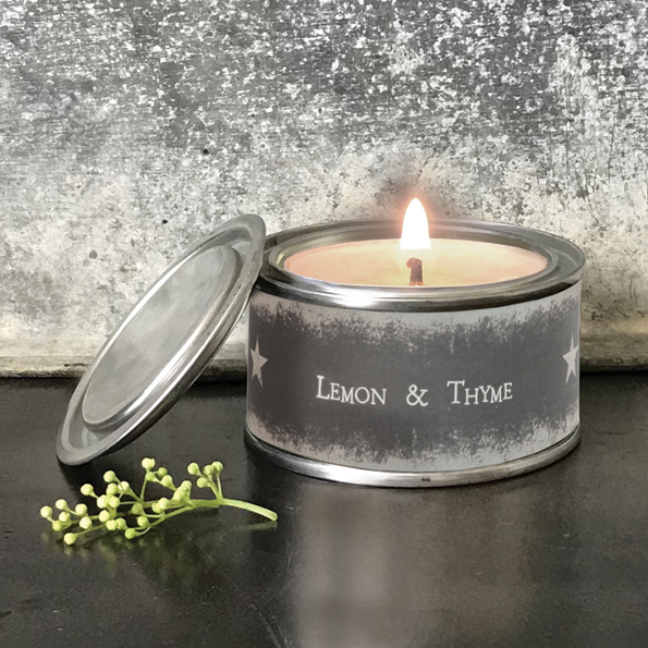 Lemon & thyme scented tinned candle by east of India