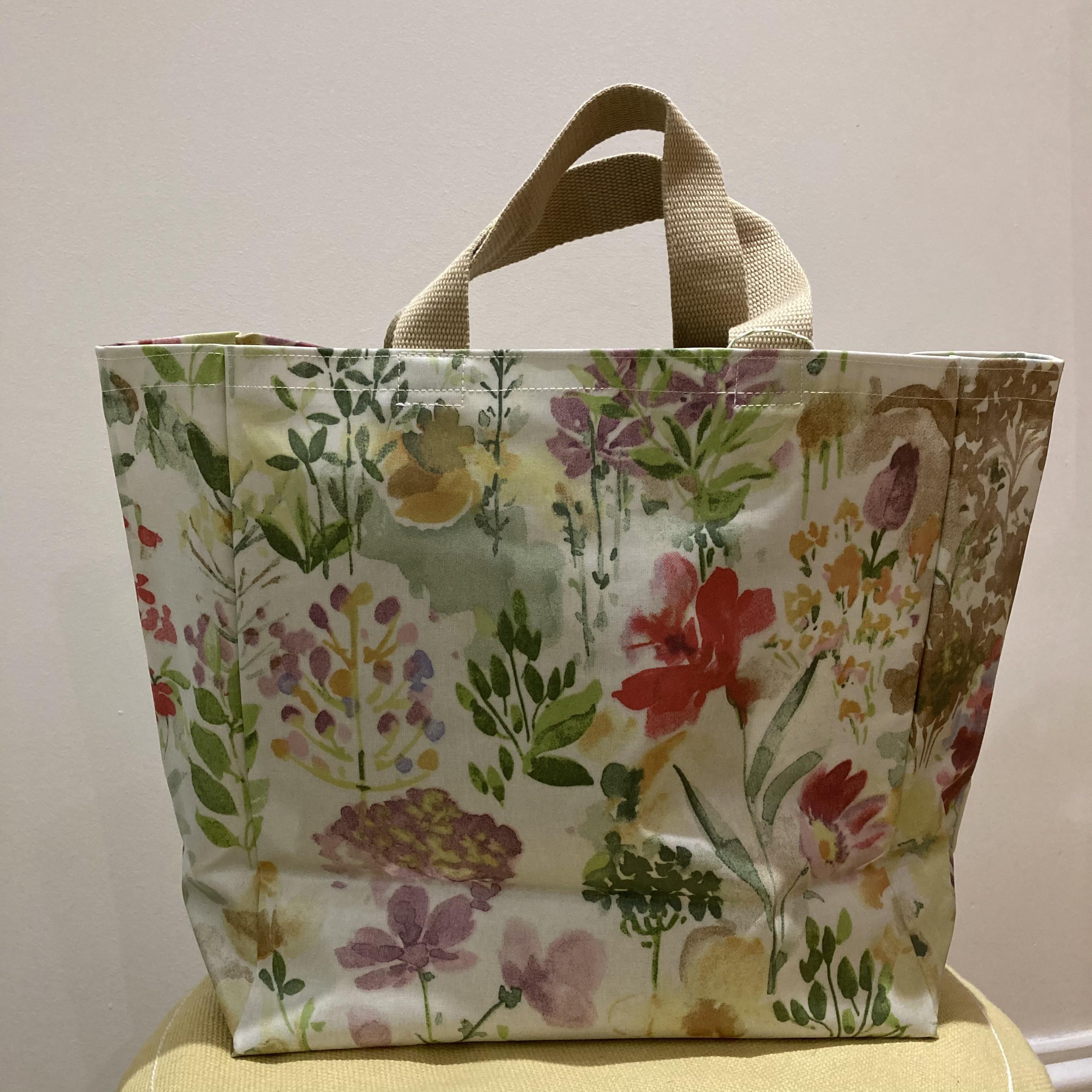 Floral print vinyl tote bag by Stella's Stichcraft