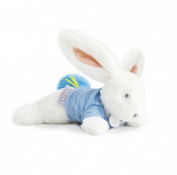 Doudou et compagnie rabbit in blue top.