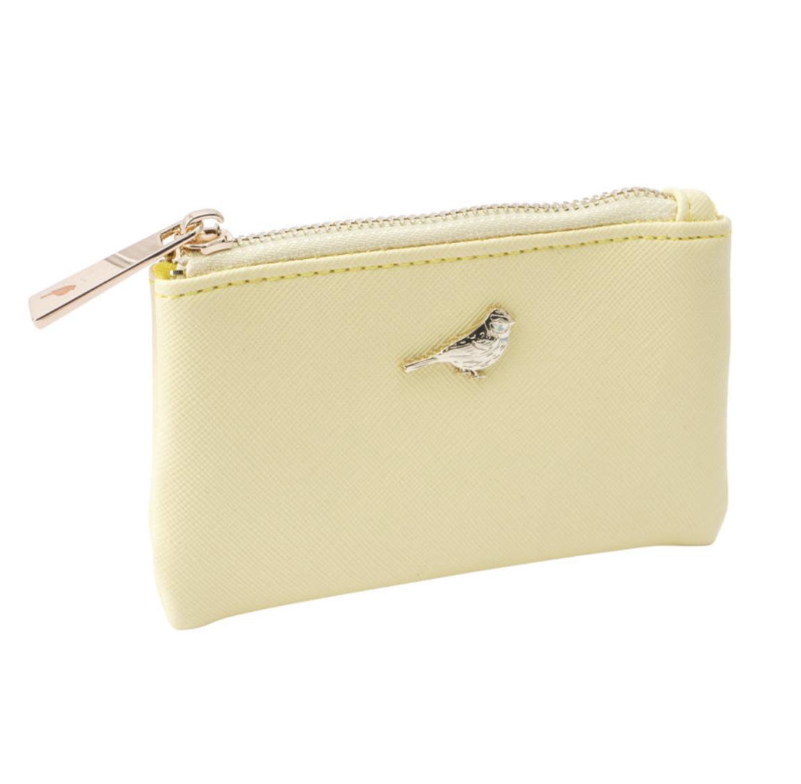 British Birds Yellow Bird coin Purse. Blue tit purse.