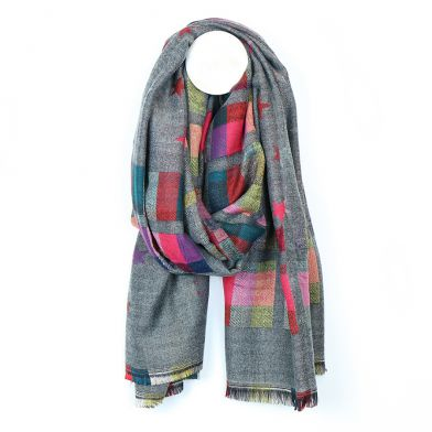 Mid grey & pink mix check & star scarf by POM