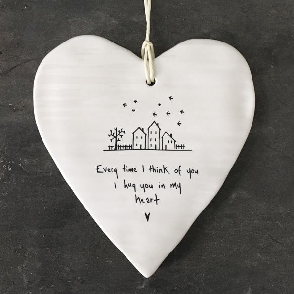 Every time I think of you I hug you in my heart. Ceramic heart by east of India