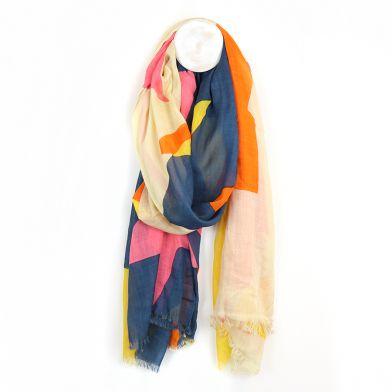 Pink, navy & orange mix giant star print scarf.
