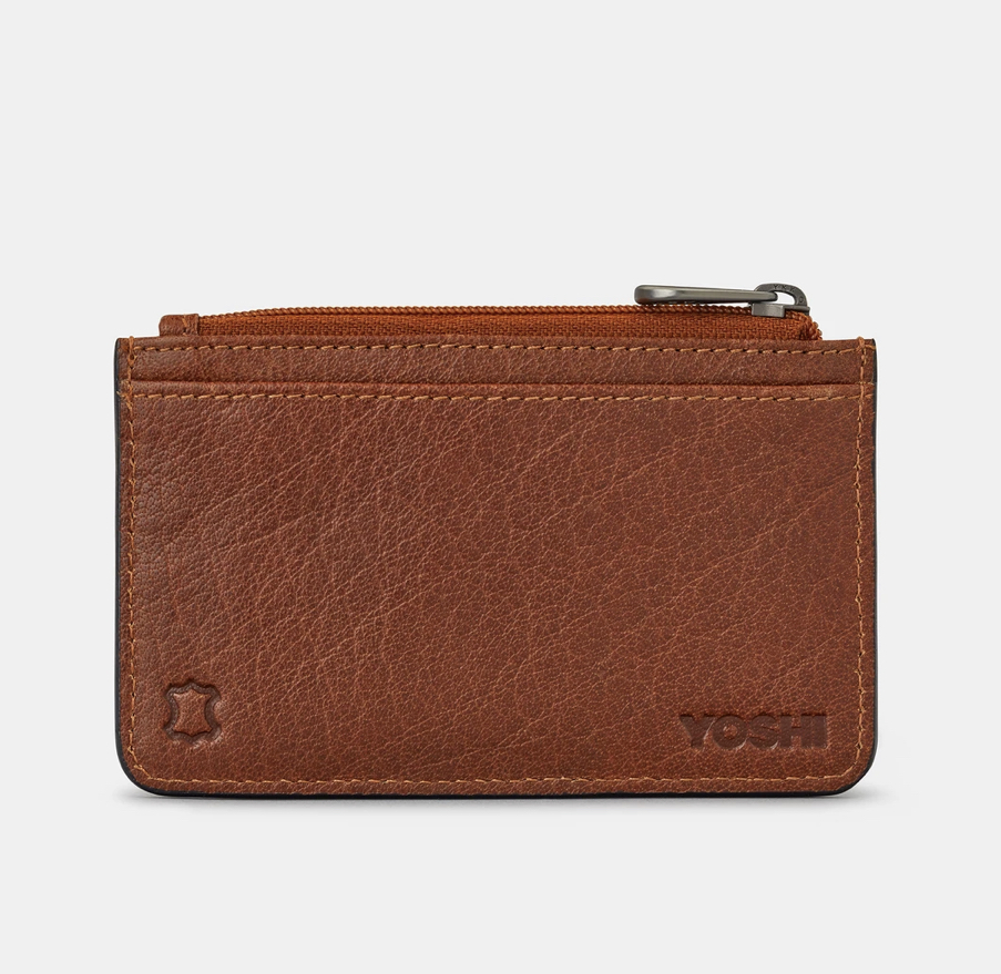 ZIP TOP BROWN LEATHER CARD HOLDER