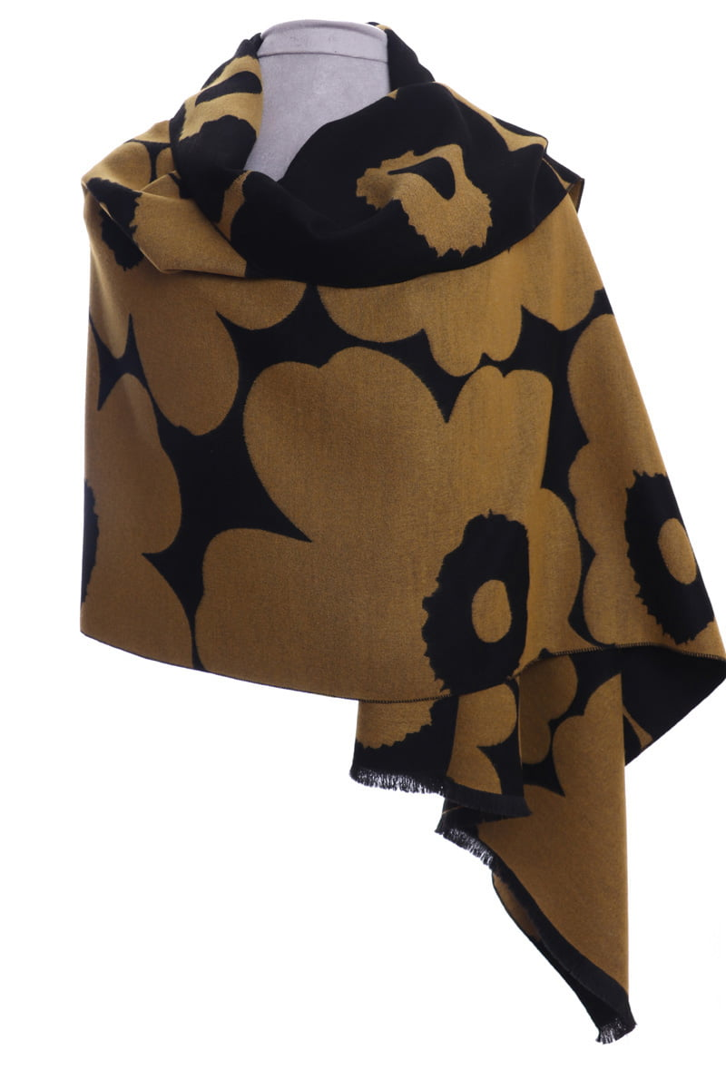 Mustard and black large floral wrap/scarf