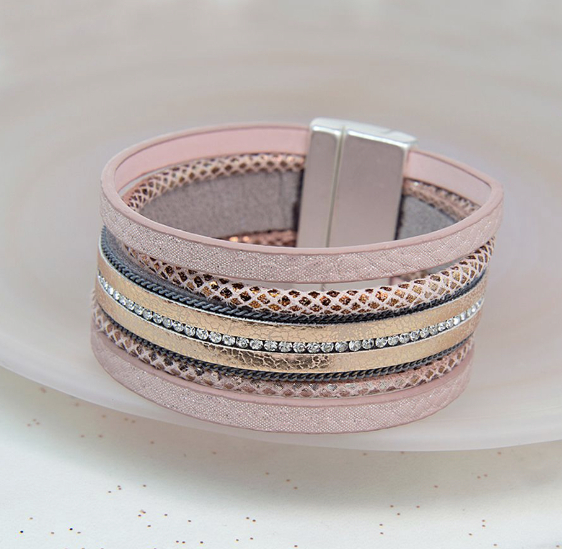 Gold And Pink Leather Crystal Bracelet By POM piece of mind