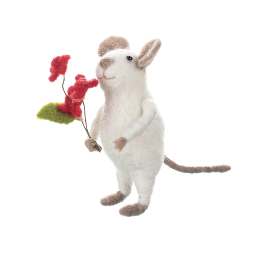 White mouse with flowers felted ornament by shoeless joe