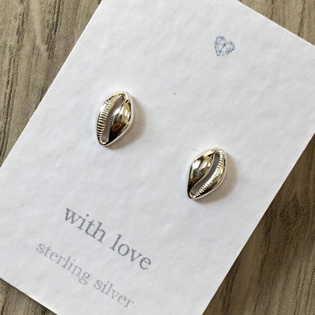 Cowrie shell sterling silver stud earrings