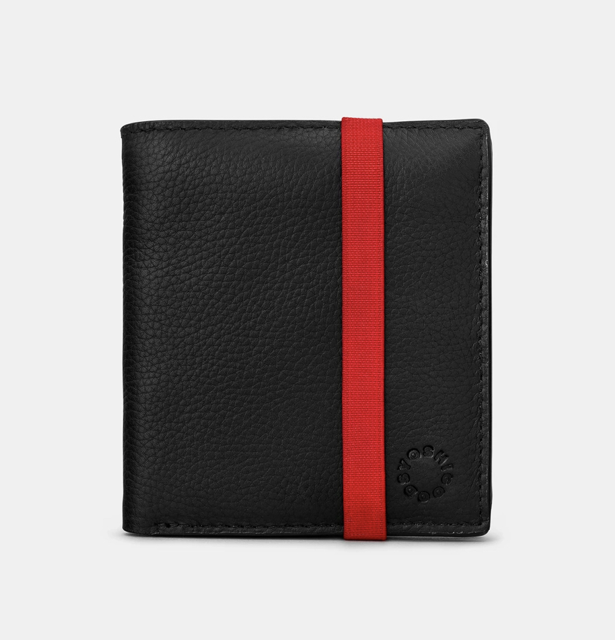 YOSHI TWO FOLD BLACK LEATHER COIN POCKET WALLET WITH ELASTIC