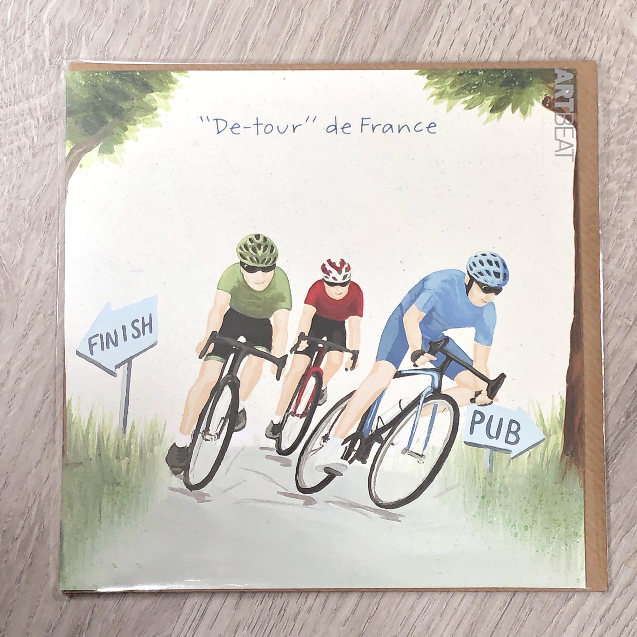 Card - De-tour de France. Cycling card.
