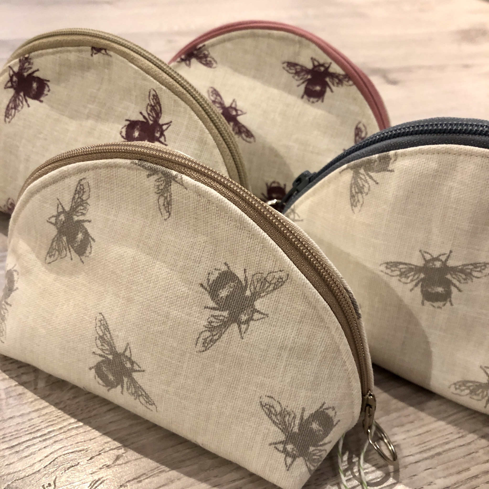Bumble bee makeup pouches by Stella's stitchcraft
