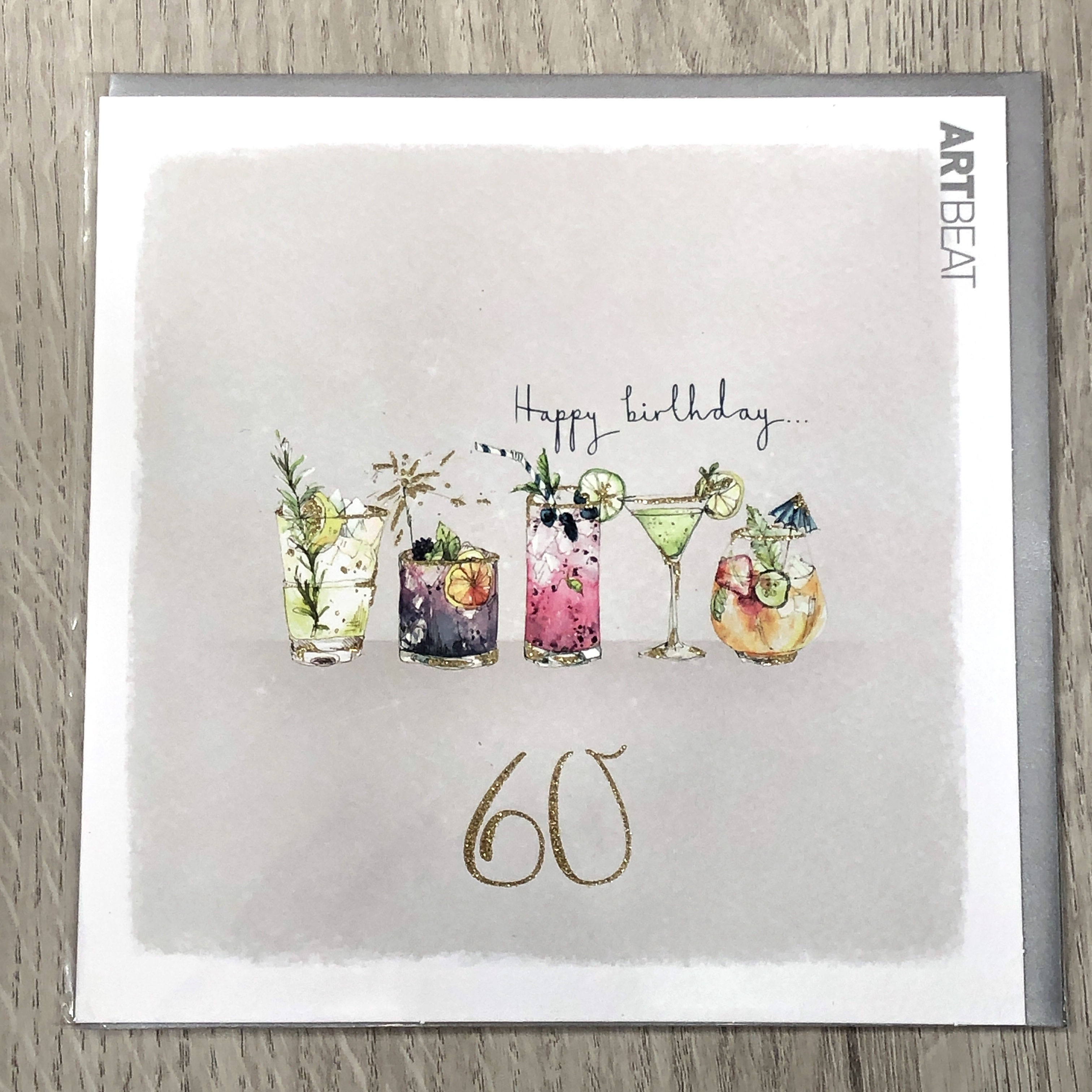 60th birthday card. Drinks party.