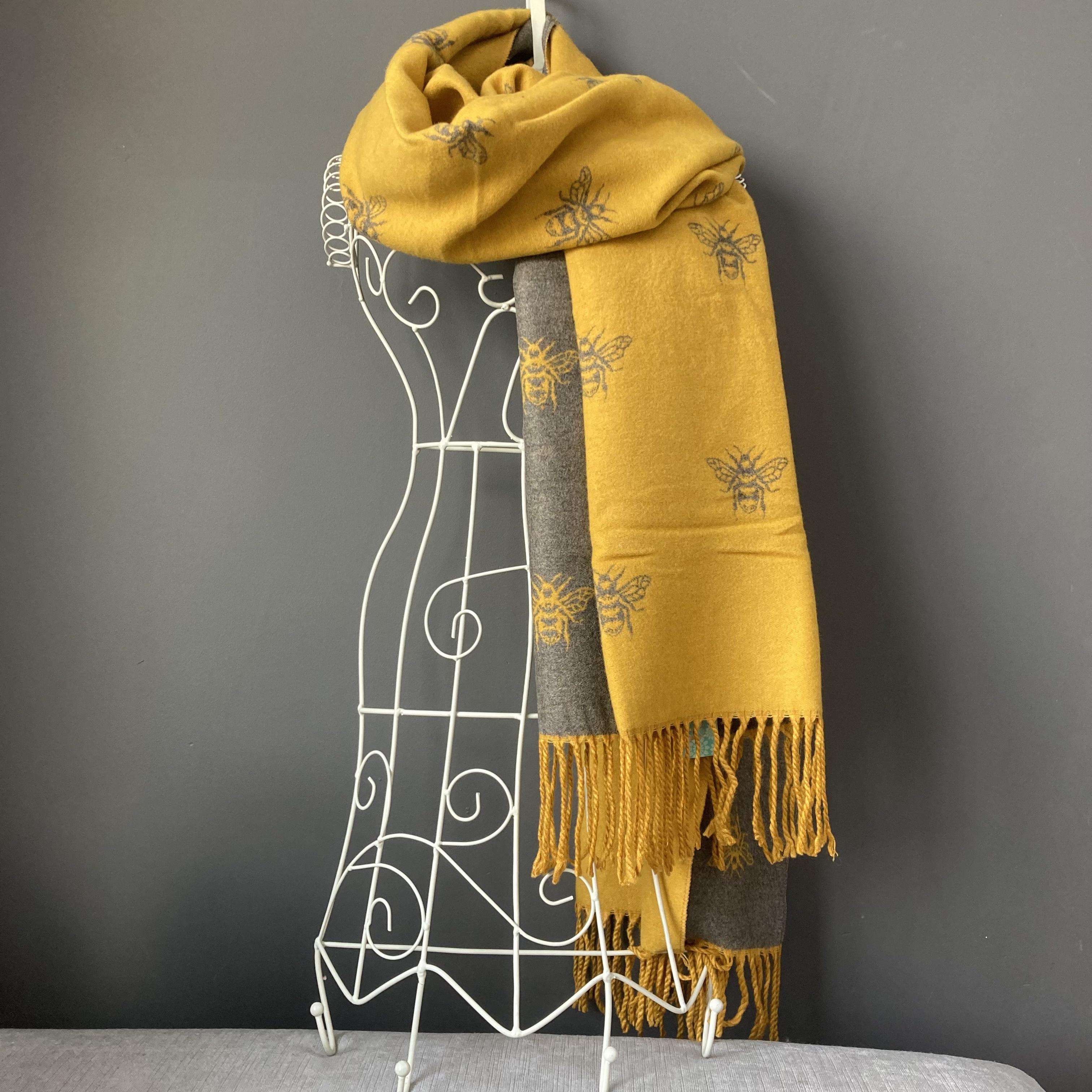 Mustard/grey reversible soft bee print scarf/wrap