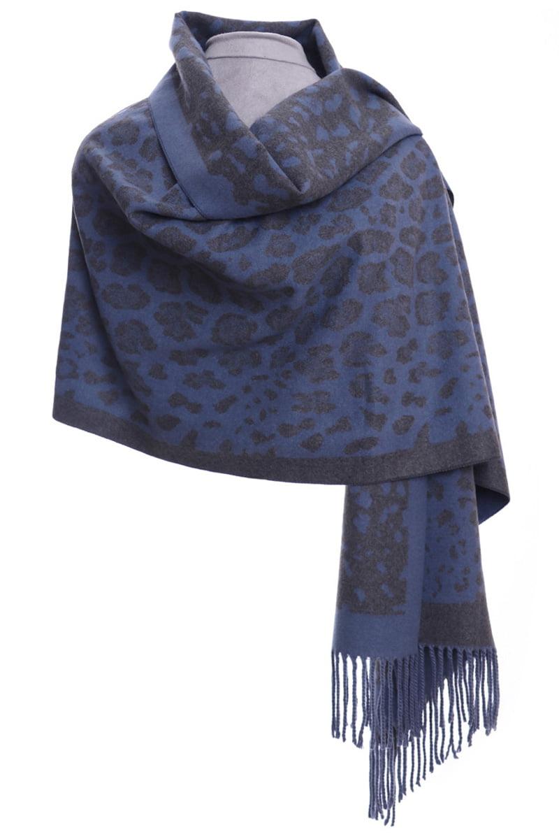 Blue & grey animal print  luxury wrap/scarf by Zelly