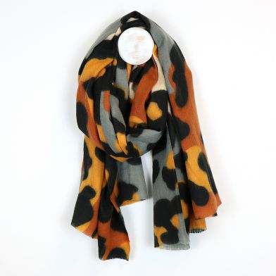 Fleecy animal print scarf in orange,grey & mustard by POM