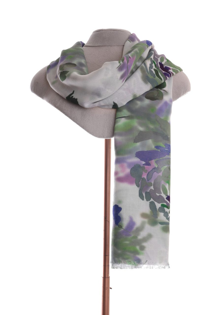 Floral green digitally printed scarf by Zelly
