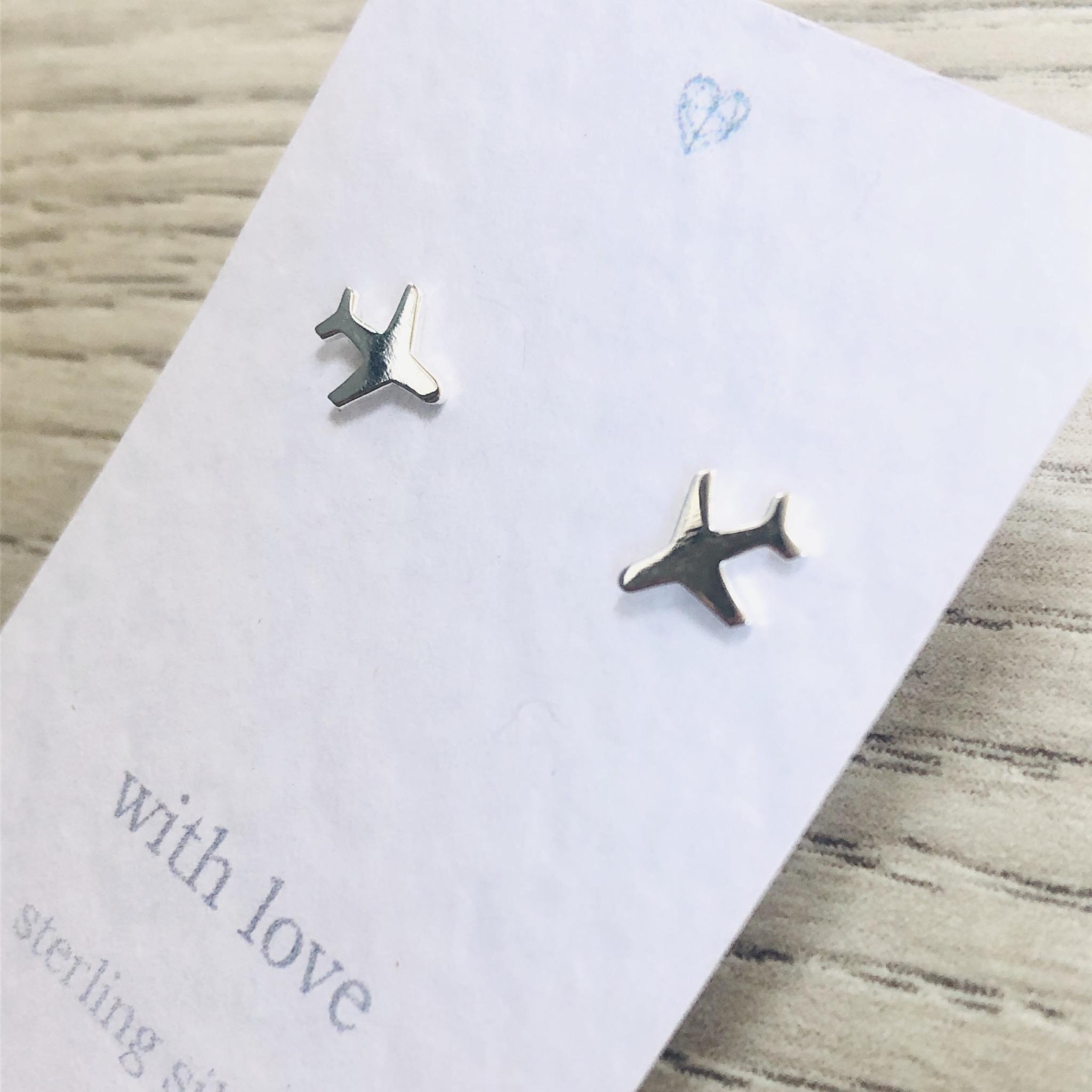 Airplane sterling silver stud earrings