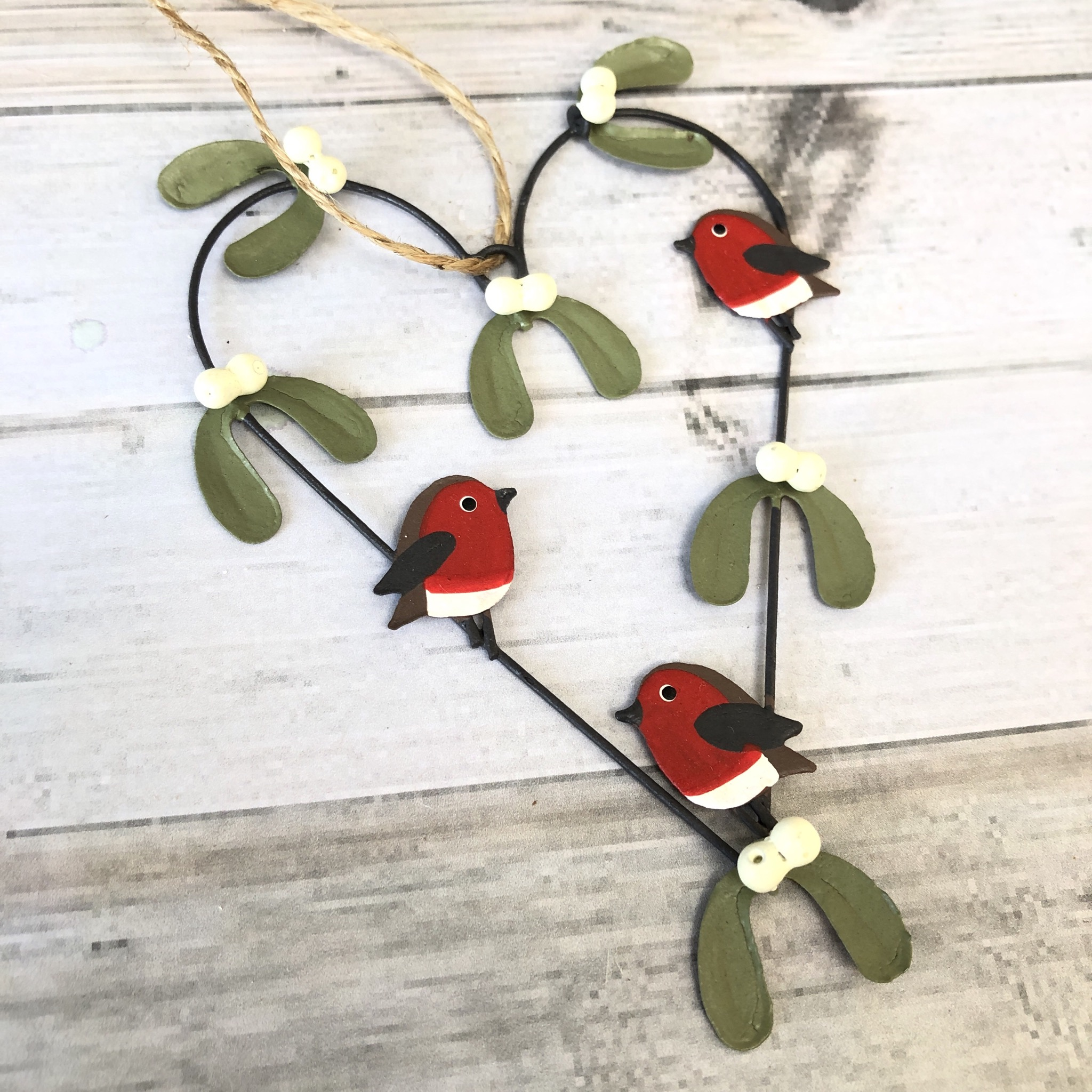 3 Robins in a mistletoe heart, hanging decoration by shoeless joe
