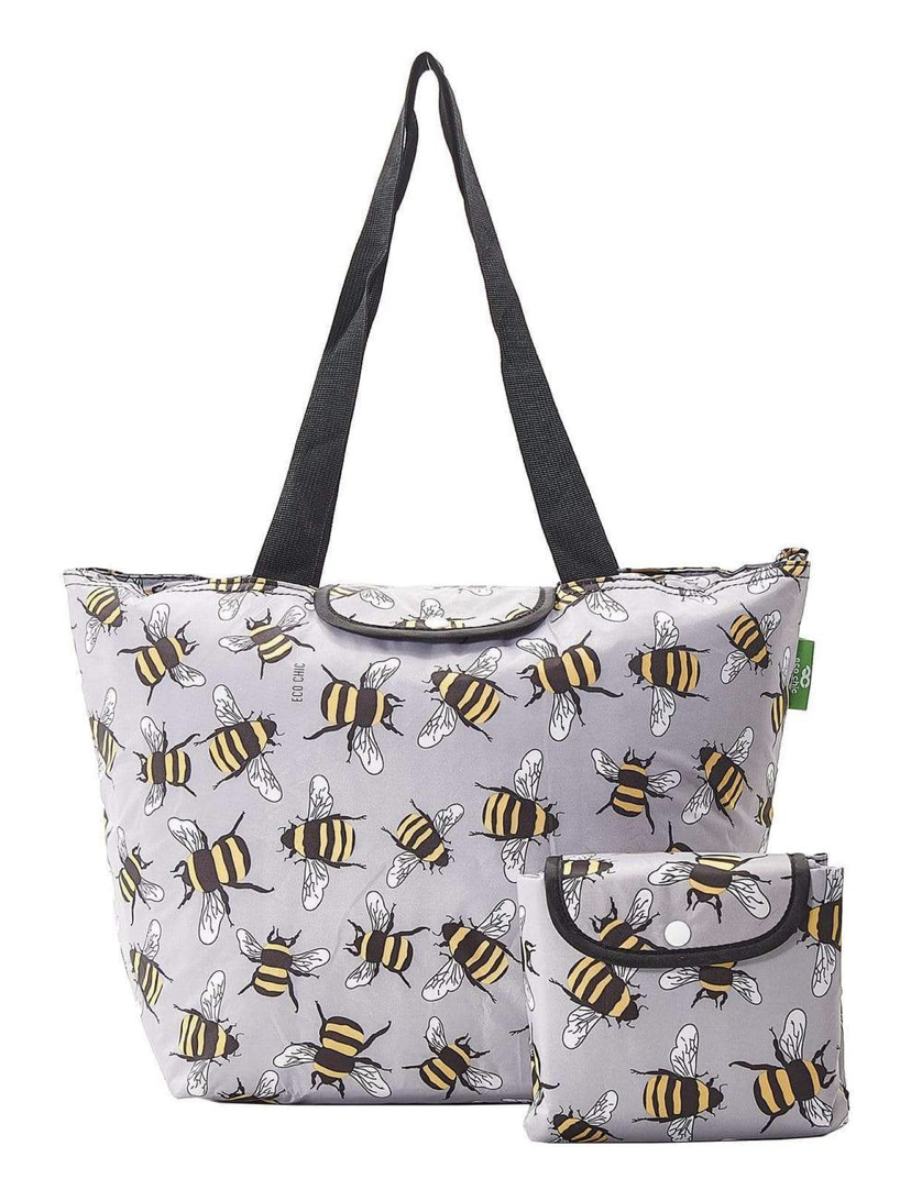 ECO CHIC LIGHTWEIGHT FOLDABLE PICNIC COOL BAG BEES