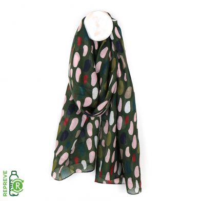 Khaki recycled scarf with multi oval print Recycled plastic bottle scarf by POM