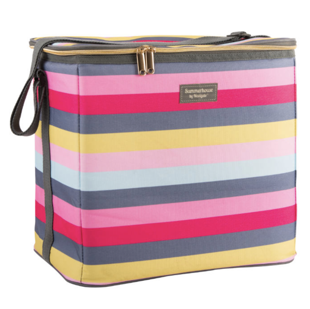 GARDENIA FAMILY COOLER – STRIPE PINK & GREY. SUMMERHOUSE