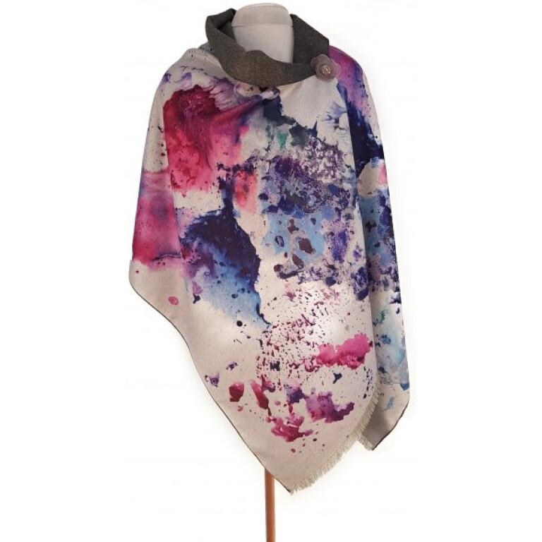Luxury wrap/scarf  indigo watercolour. By Zelly