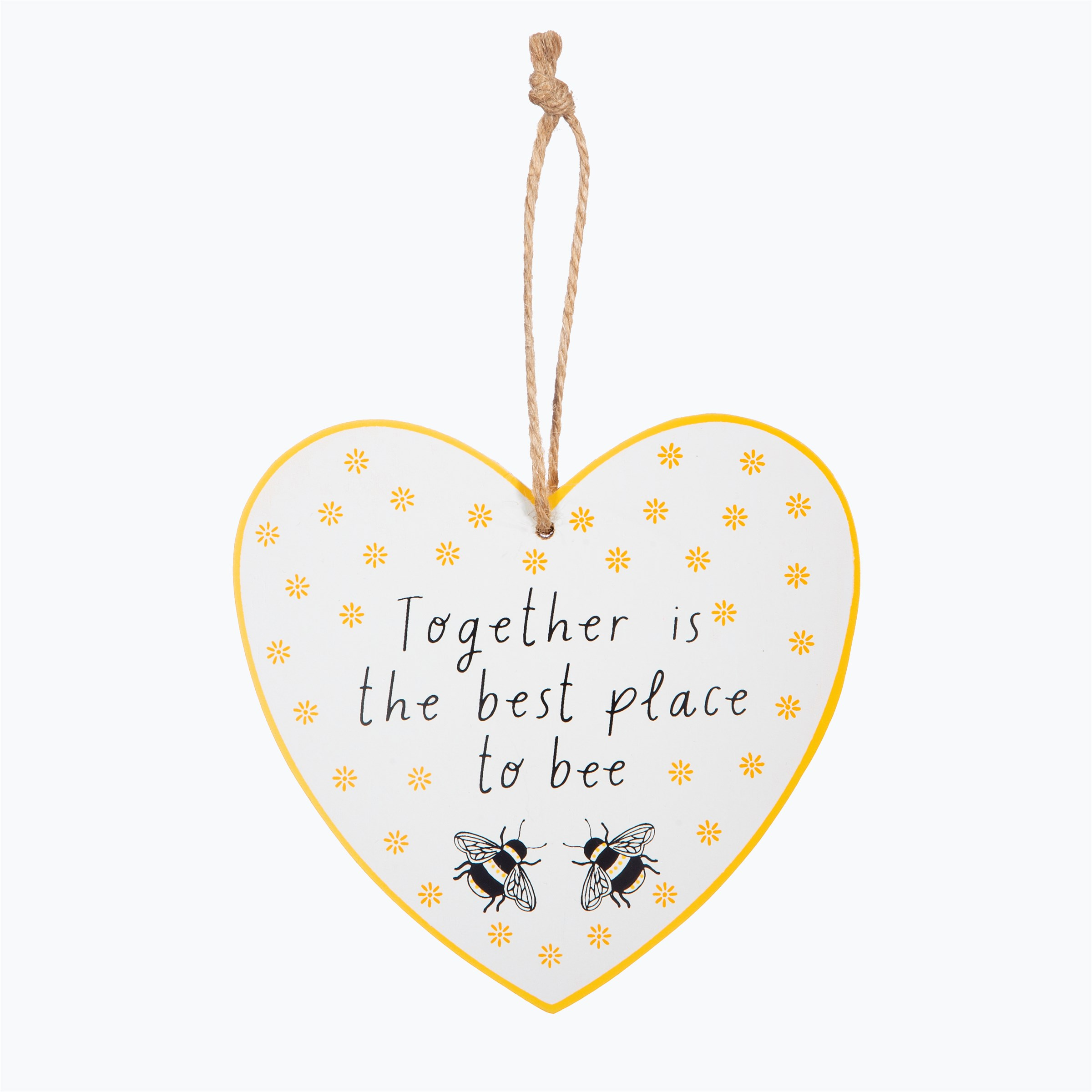 Together is the best place to bee. Bumblebee hanging heart