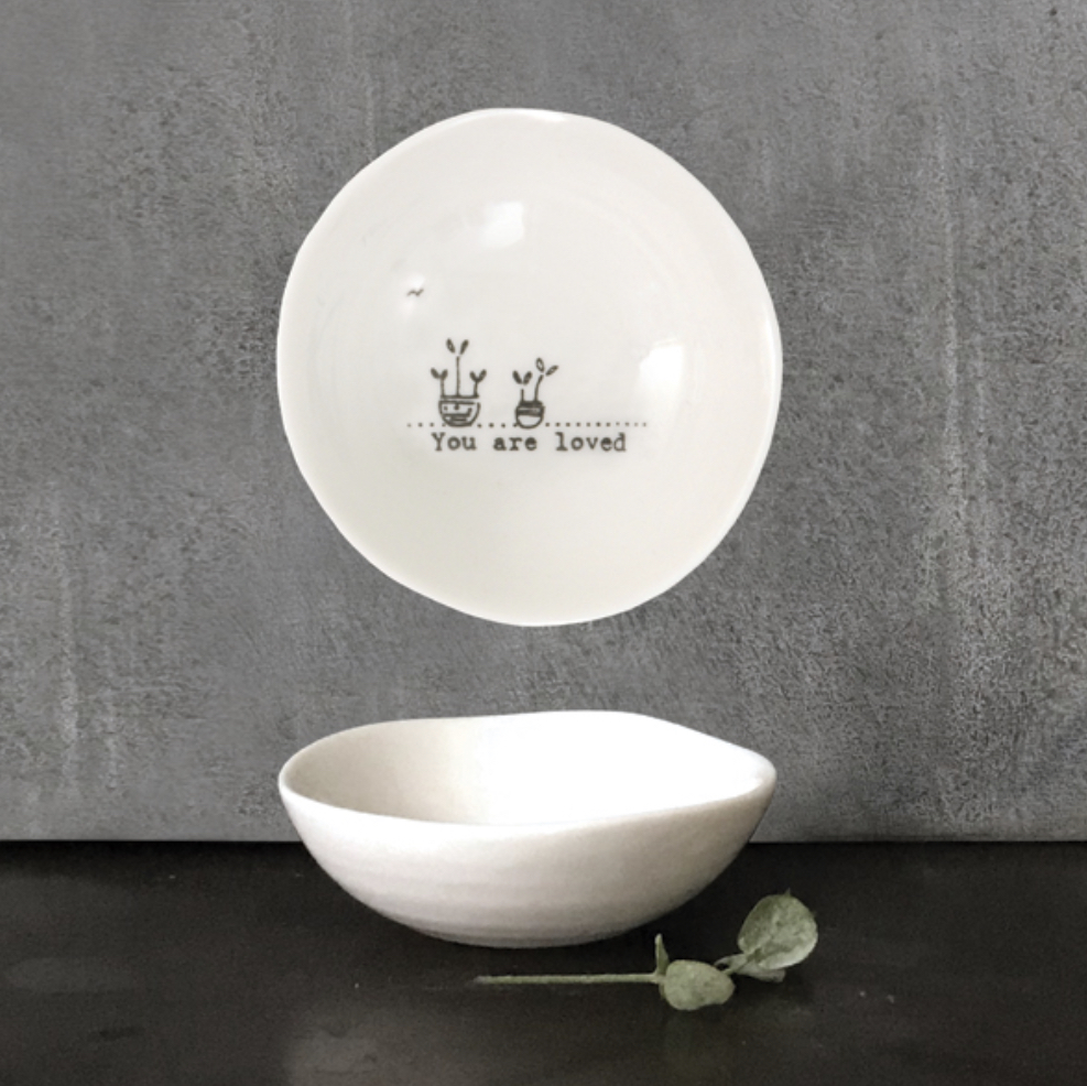 Small wobbly trinket dish by East of India. You are loved.
