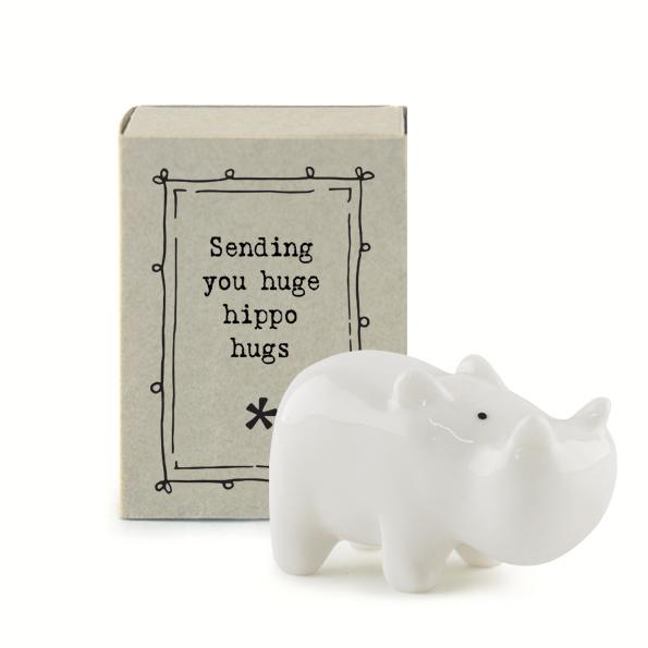 Sending you hippo hugs . Ceramic hippopotamus matchbox keepsake