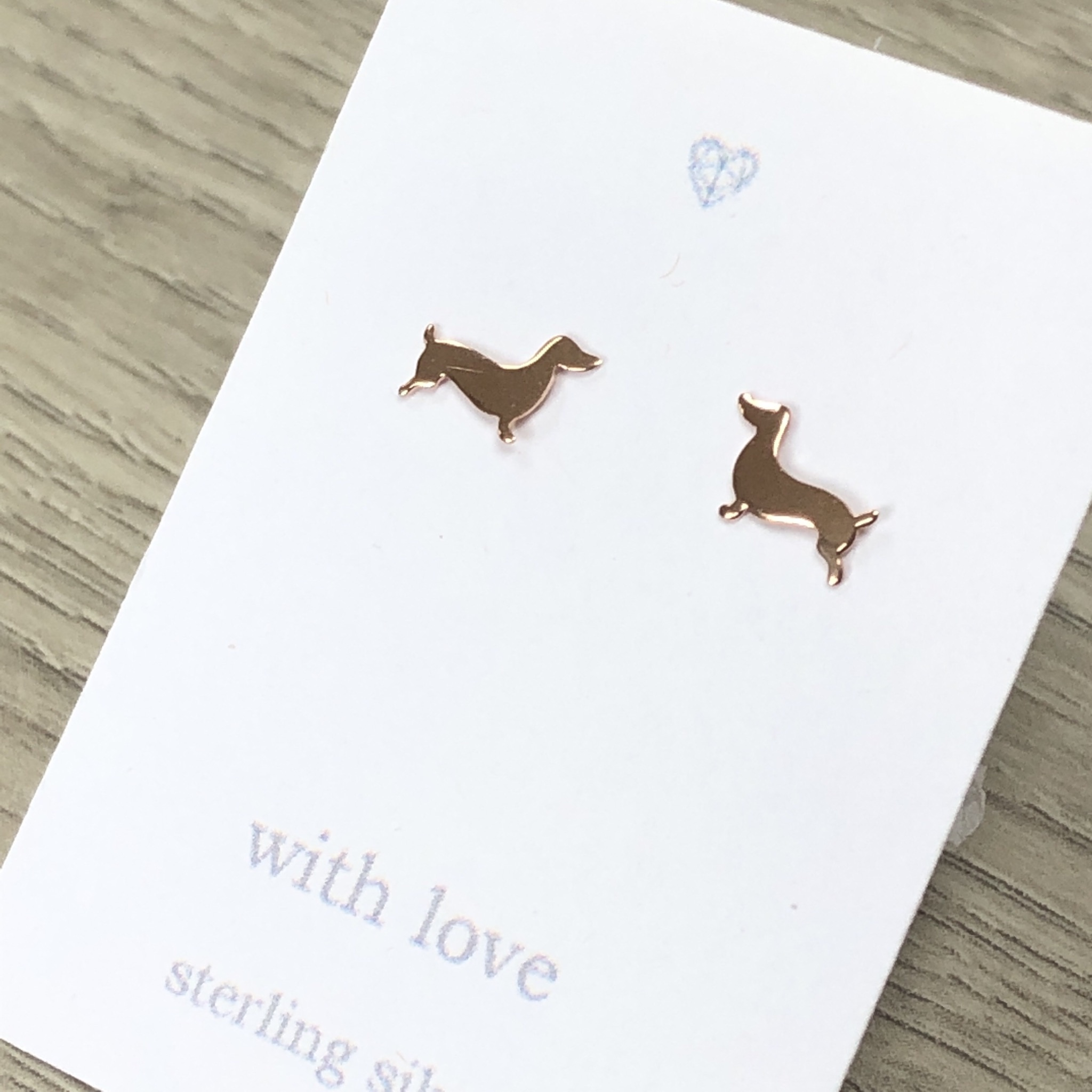 Dachshund rose gold plate, sterling silver stud earrings.Sausage dog.