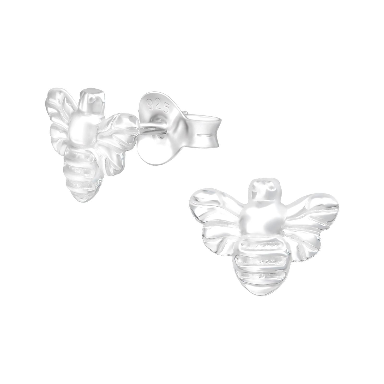 Bee stud earrings sterling silver
