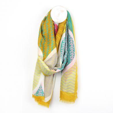 Yellow mix multi print teardrop scarf by POM