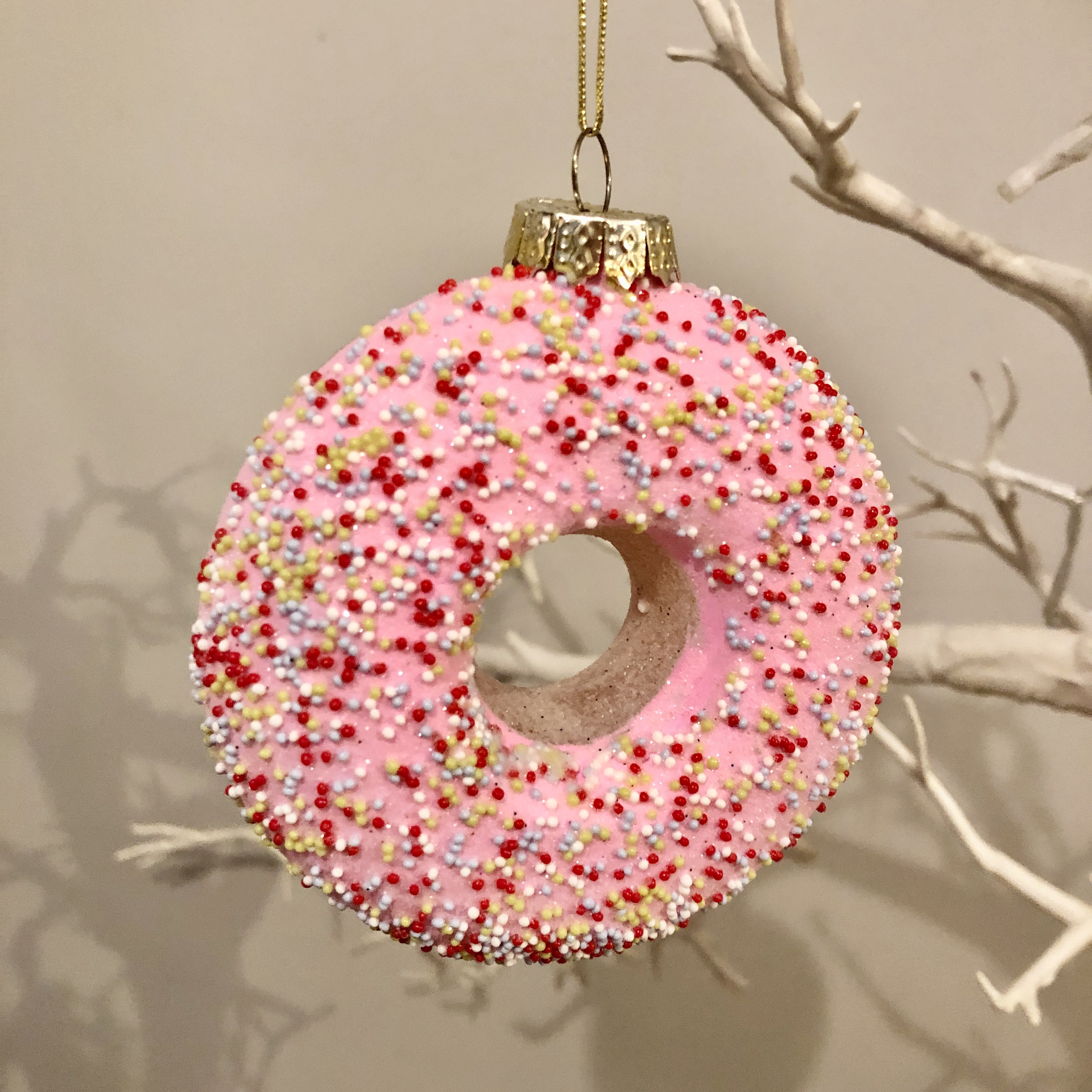 Glass Frosted donut bauble Christmas decoration by shoeless joe
