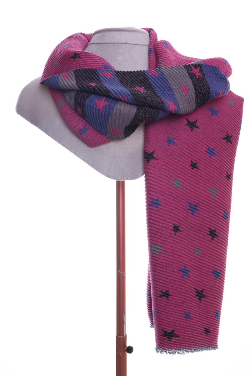 Pink star pleated scarf/wrap by Zelly