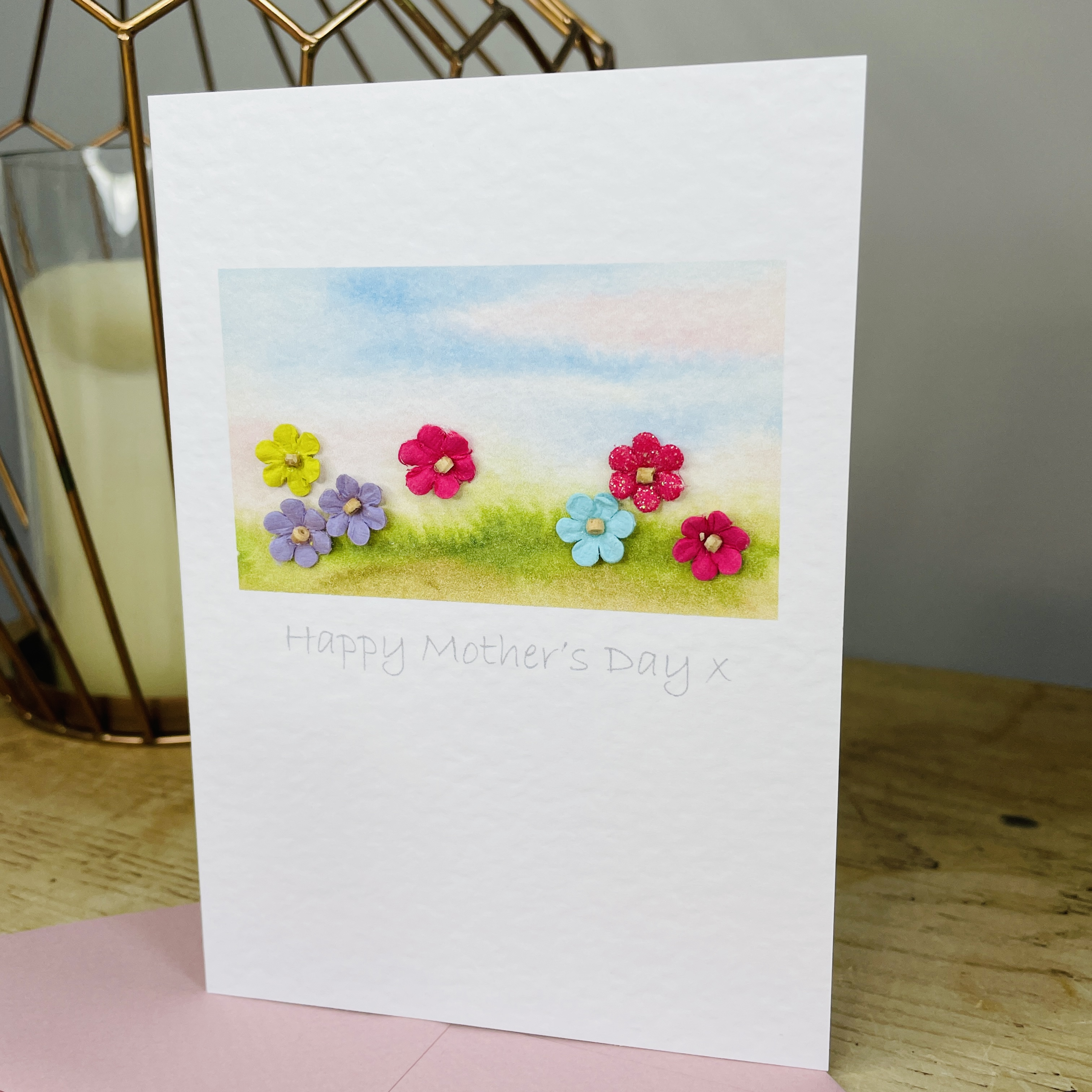 Colourful flower field Mother's Day card