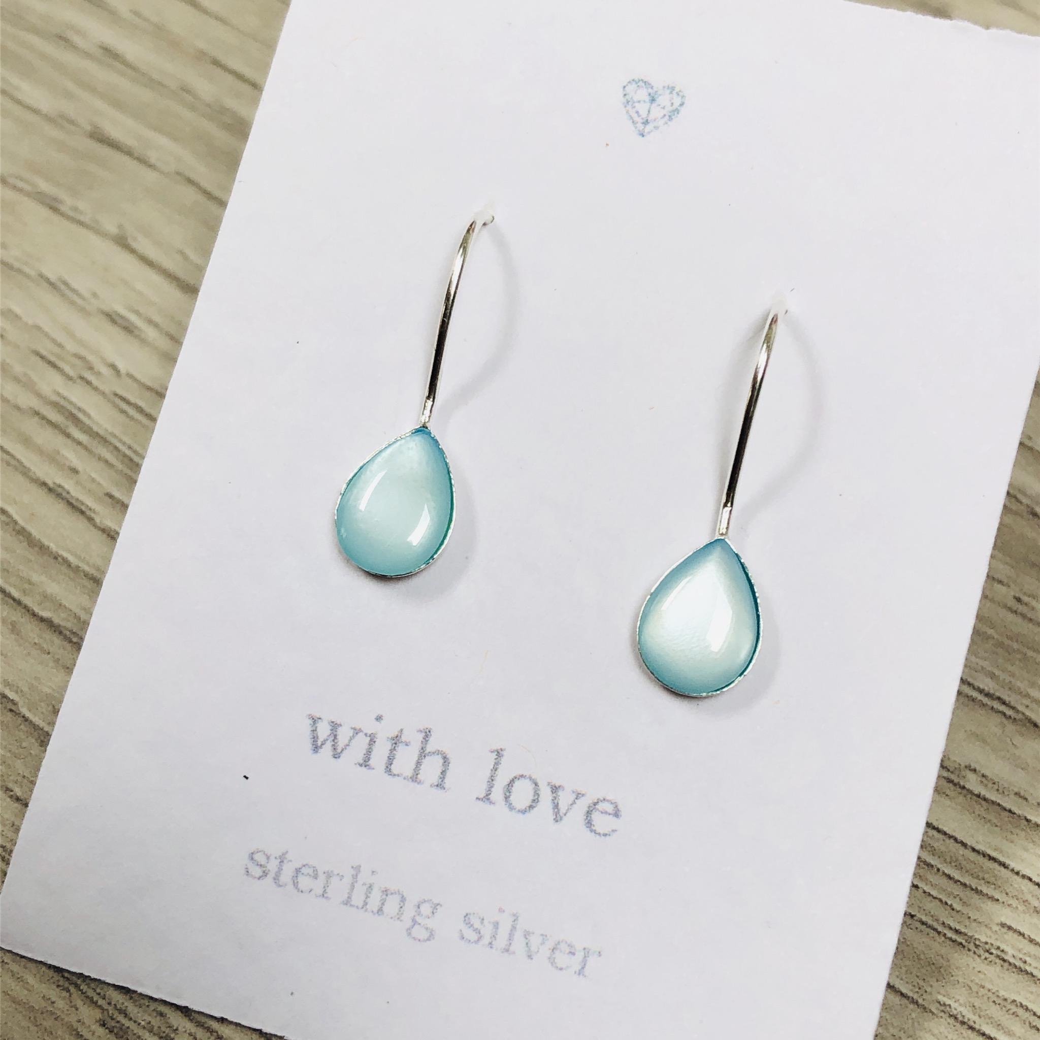 Aqua Blue tear drop earrings. Sterling silver.